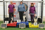 """Janet Gauntt and Sequel take 1st in the 26"""" division of the $4000 Triathlon class at the 2015 Mid-Atlantic Agility Showcase."""