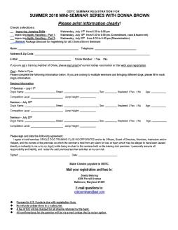 Donna Brown Summer 2018 Registration