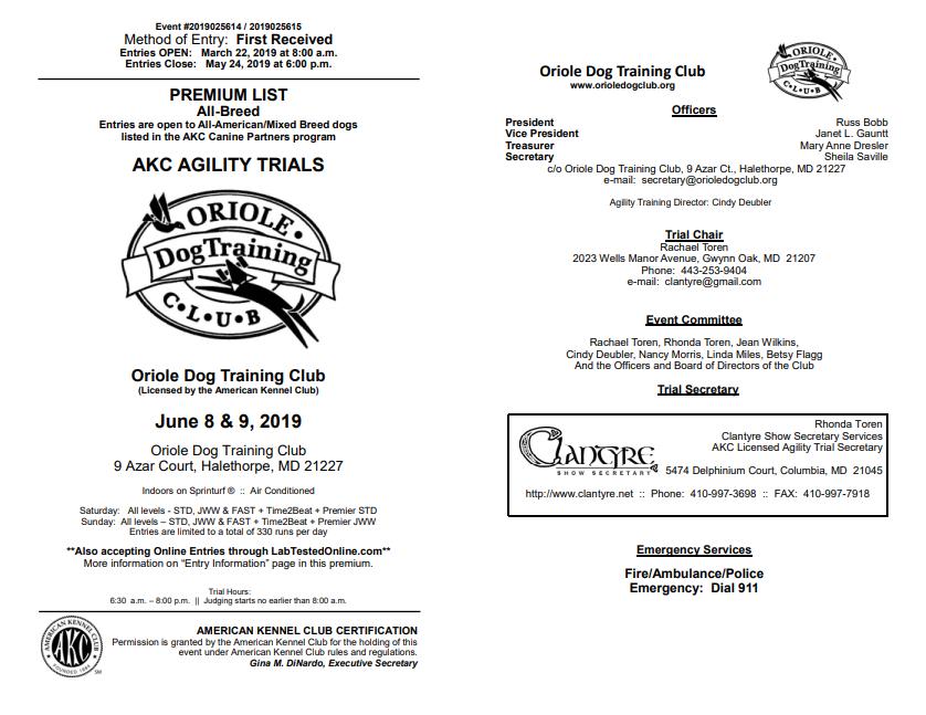 AKC Agility Trial Information Page   Oriole Dog Training Club