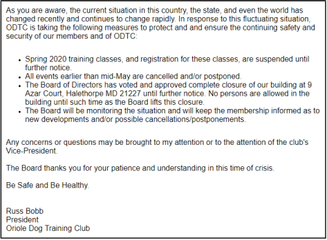 COVID Presidents Letter